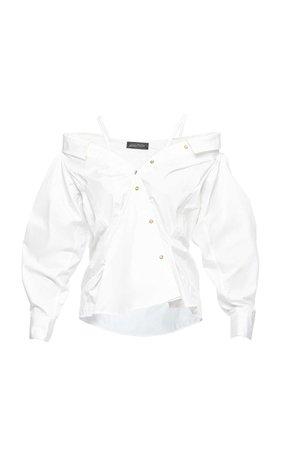 Anna October Off-The-Shoulder Button Up Shirt