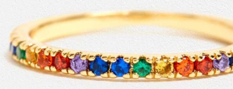 five and two jewellery Maria rainbow gold plated ring