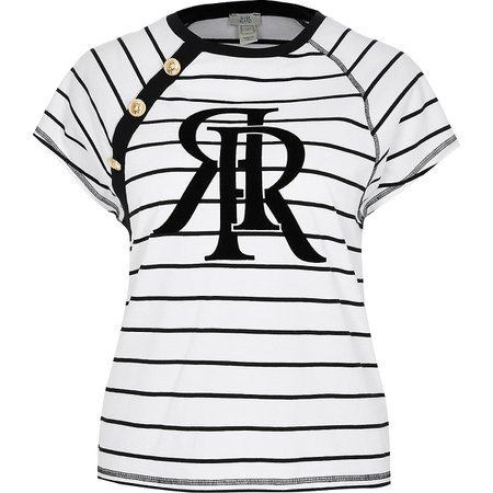 White 'RR' stripe short sleeve t-shirt | River Island