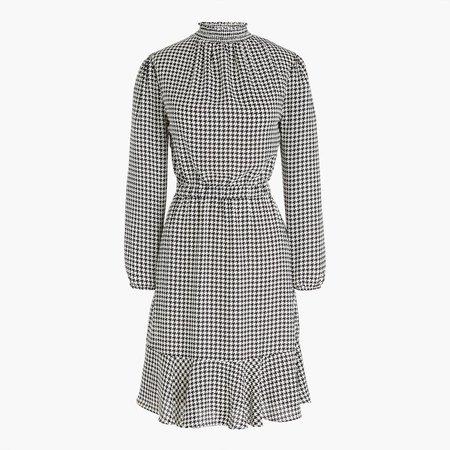 Petite houndstooth smockneck dress