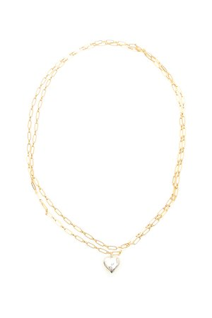 Timeless Pearly Double Chain Heart Necklace