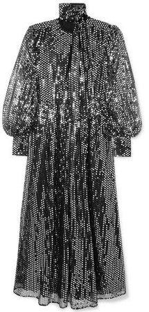 Sequined Chiffon Maxi Dress - Silver