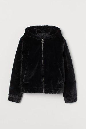 Hooded Faux Fur Jacket - Black