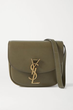Army green Kaia small leather shoulder bag   SAINT LAURENT   NET-A-PORTER