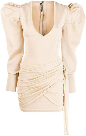 exaggerated shoulder mini dress