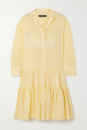 Dan Tiered Ramie Midi Shirt Dress - Yellow