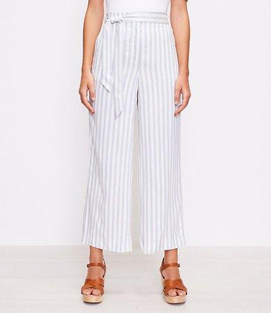 The Petite Tie Waist Pull On Wide Leg Pant in Stripe
