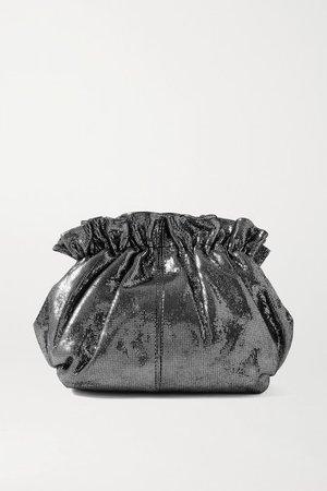 Willa Metallic Suede Clutch - Silver