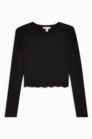 Black Long Sleeve Lace Trim Top | Topshop