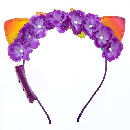 Light Up Anodized Cat Ears Flower Crown Headband - Purple