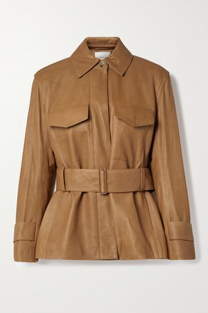 Belted Leather Jacket - Camel