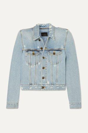 Blue Cropped distressed denim jacket | SAINT LAURENT | NET-A-PORTER