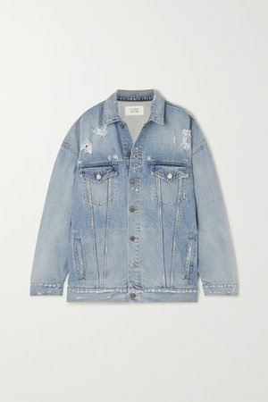 Oversized Distressed Denim Jacket - Blue