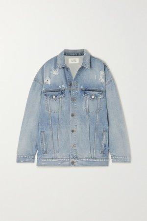 Oversized Distressed Denim Jacket - Blue