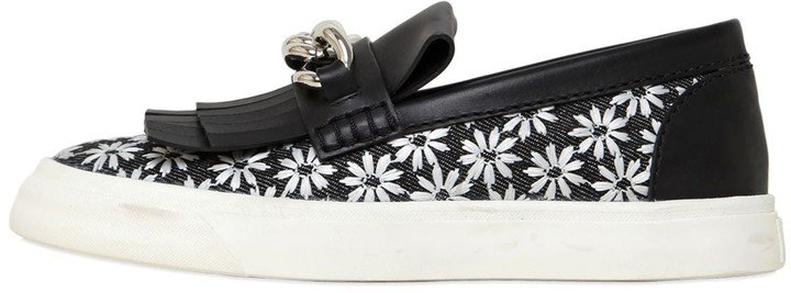 Chained Daisy Canvas Slip On Sneakers