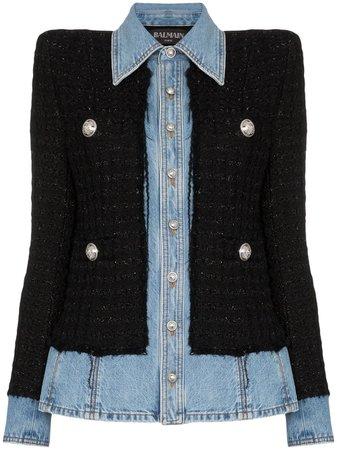 Balmain tweed denim jacket