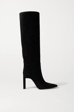 Suede Knee Boots - Black
