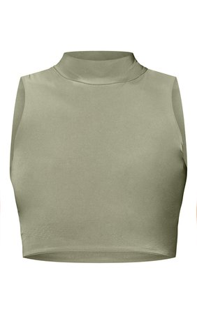 Sage Slinky High Neck Racer Crop Top   Tops   PrettyLittleThing USA