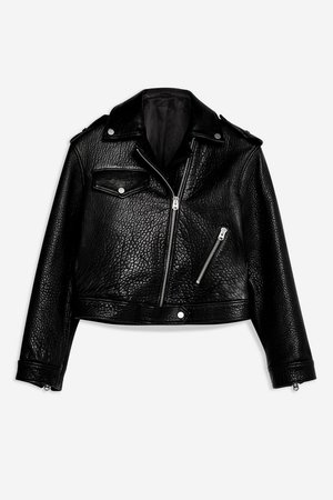 **Ultimate Leather Biker Jacket by Boutique - Black- Topshop USA