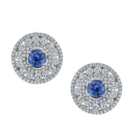 Cornflower Blue Sapphire, Diamond 18k White Gold Hinged Back Post Round Earrings For Sale at 1stDibs