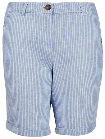 Blue Stripe Knee Shorts With Linen