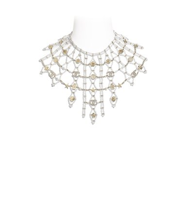 Necklace, metal, glass pearls & diamantés, gold, pearly white & crystal - CHANEL