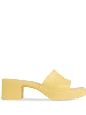 Gucci open toe logo mules yellow 624730J8700 - Farfetch