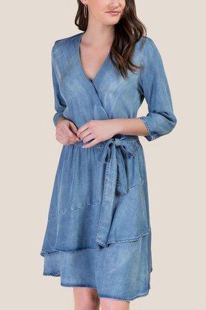 Michelle Denim Wrap Dress | francesca's