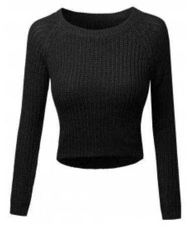 fashion outfit black crop cropped top sweater long sleeve sleeved crew neck neckline top shirt
