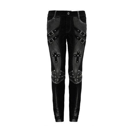 Men's Punk Cross Rivets Faux Leather Pants – Punk Design