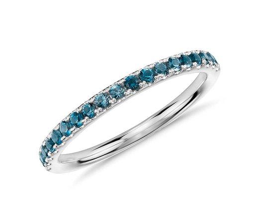 Riviera Pavé Blue Topaz Ring in 14k White Gold (1.5mm) | Blue Nile