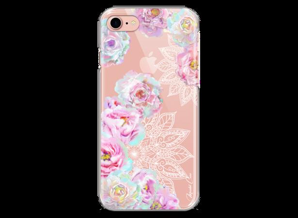 Coque iPhone 7/iPhone 8 Mandala & Pink Flowers   Master Case