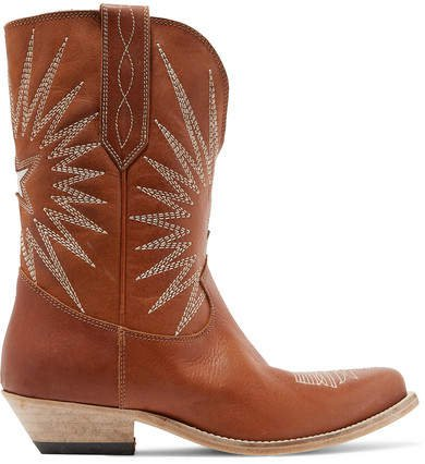 Wish Star Low Embroidered Textured-leather Boots - Tan
