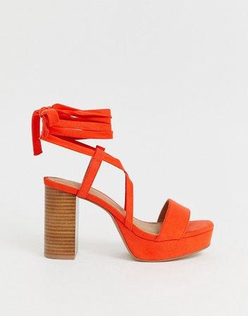 ASOS DESIGN Wide Fit Walker platform block heeled sandals | ASOS