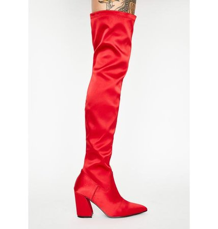 Current Mood Red Satin Thigh High Boots | Dolls Kill