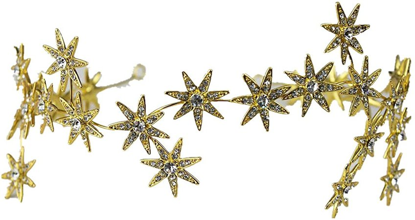 Amazon.com: Wiipu Romantic Star Crystal Rhinestone Tiara Bridal Hair Accessories (A1717) (Rose Gold): Clothing