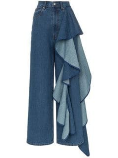 Solace London Tay high-waisted Wide Leg Ruffle Detail Jeans - Farfetch