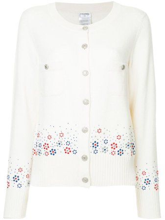 Chanel Pre-Owned Cashmere Floral Embossed Cardigan - Farfetch