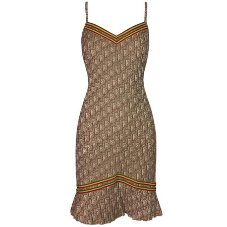 Christian Dior by John Galliano Rasta Monogram Sheer Mesh Tan Dress, 2004 at 1stdibs