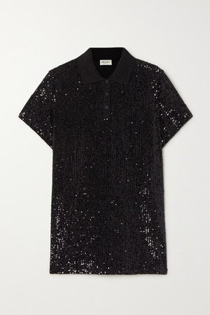 Sequined Cotton-blend Jersey Polo Shirt - Black
