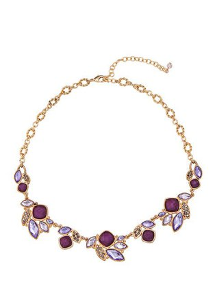 Napier Gold Tone Purple Cluster Stone Frontal Necklace