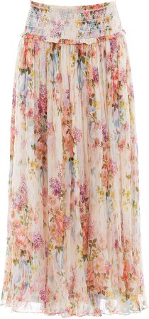 Floral Diamond Smocked Chiffon Midi Skirt