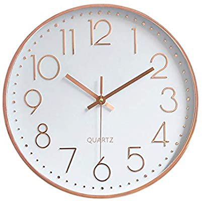 Amazon.com: Foxtop Modern Silent Quartz Wall Clock Non-Ticking Decorative Battery Operated Clock for Living Room Home Office School w Rose Gold Plastic Frame Glass Cover (12 inch, Arabic Numeral): Home & Kitchen