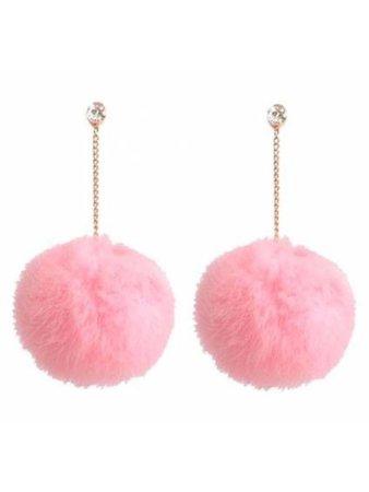 Pink cotton ball dangly earrings
