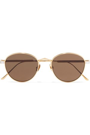 Cartier Eyewear | Round-frame gold and silver-plated sunglasses | NET-A-PORTER.COM