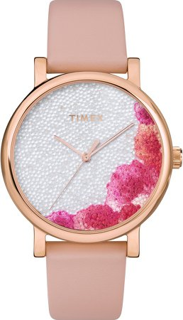 Full Bloom Crystal Floral Leather Strap Watch, 38mm