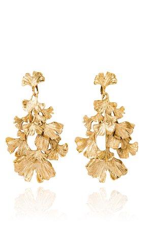 Aurélie Bidermann | Ginkgo gold-pleated earrings