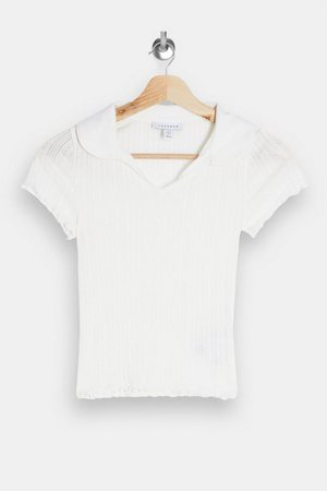 White Pointelle Polo | Topshop