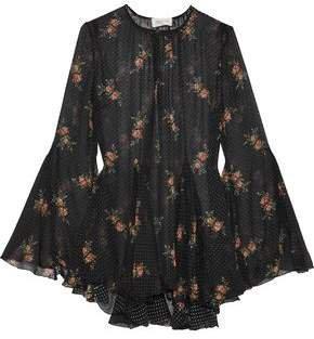 Floral-print Flocked Silk-blend Georgette Blouse