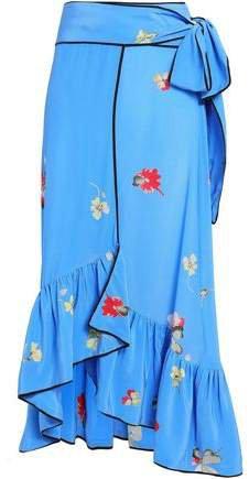 Ruffled Floral-print Silk Crepe De Chine Midi Wrap Skirt